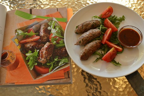 Licorice sausages with homemade barbecue sauce