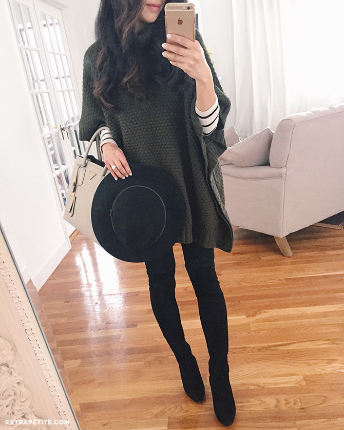sweater poncho winter outfit black boots