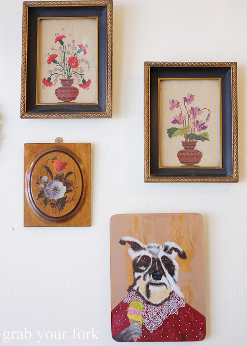 Tapestries and prints including a dog with an ice cream cone at Gelato Franco, Marrickville