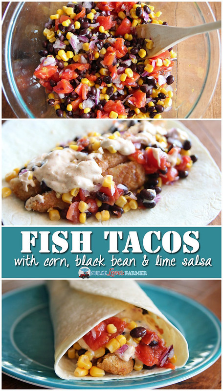 Easy fish tacos with corn, black bean and lime salsa. Really easy to make for an individual serving with leftovers or doubles for a larger crowd! Ready in 25 minutes!