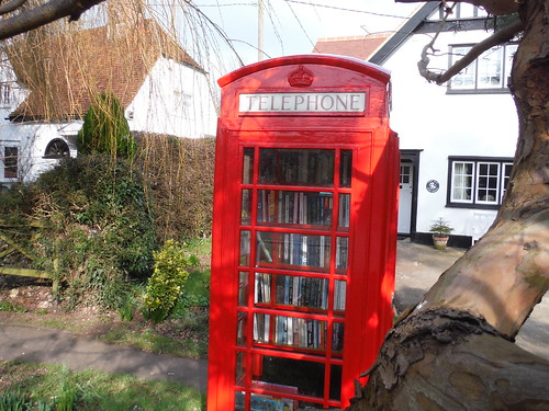 Phone booth serving as village library, Arkesden