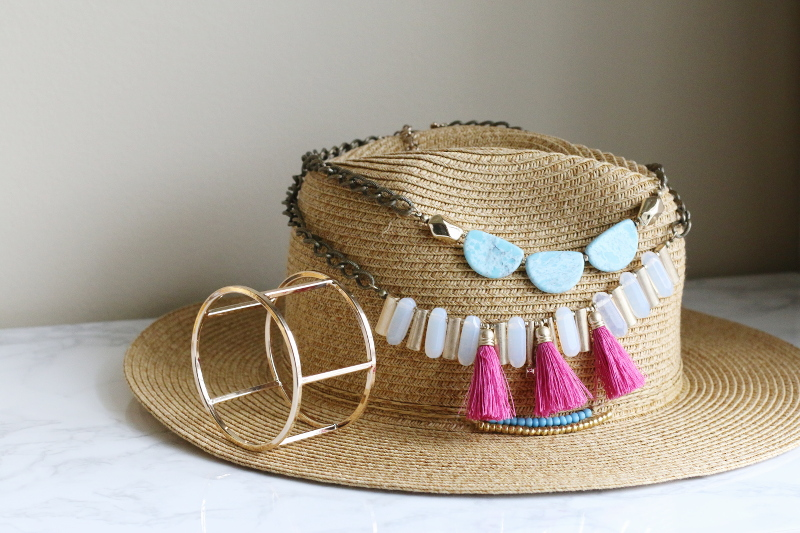 lydell necklace, bangle, straw hat