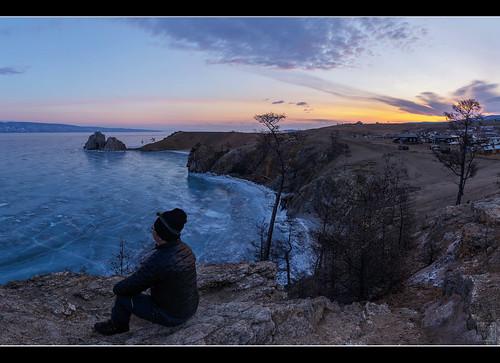 lake sunrise frozen russia ru baikal khuzhir irkutskayaoblast