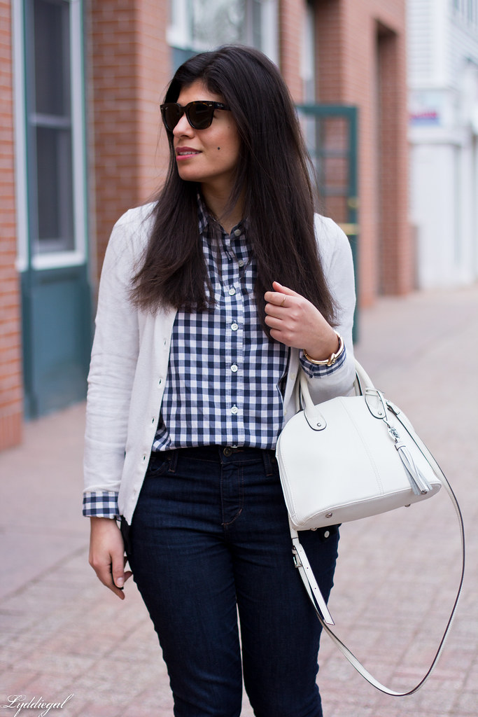 gingham shirt, white cardigan, nude laceup flats-3.jpg