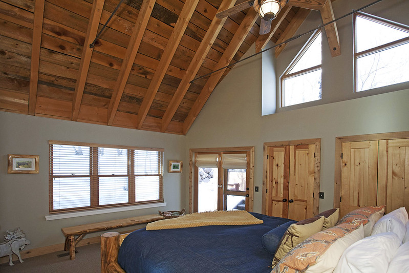 Vacation rental bedroom with skylight