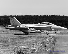 Black & White of an EA-18G of VAQ-138 Yellow Jackets on the Ault Field Tarmac