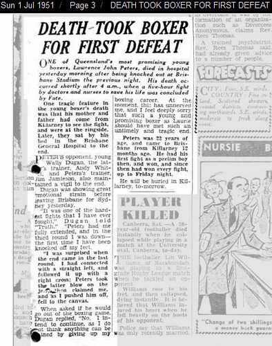 01 Jul 1951 - DEATH TOOK BOXER FOR FIRST DEFEAT - Trove -