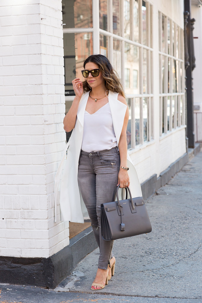 J.Crew Cami (similar here & here)  Zara Duster (office appropriate here & love this style)  H&M Denim old (similar here & here) Steve Madden Heels Saint Laurent Bag (similar here)  J.Crew Sunglasses  Capwell Necklace & Bracelet c/o