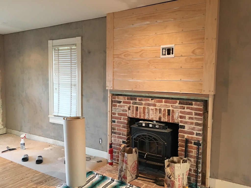 A custom diy fireplace mantel beneath our shiplap old town home when it came to a plan for the new mantel the consensus in the comments section in our old post in our discussions and from consultation with friends was solutioingenieria Images