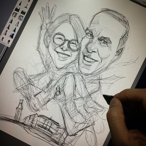 first year wedding anniversary digital couple caricatures sketch