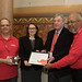 State Representative Rosa C. Rebimbas (R-Naugatuck) was presented with the 2015 AARP Capitol Caregiver Award by AARP volunteers Rich Alhage, of Naugatuck, left, Tom Singleton, of Woodstock, Byron Peterson, of Shelton, during a legislative session day on Thursday, April 28, 2016.