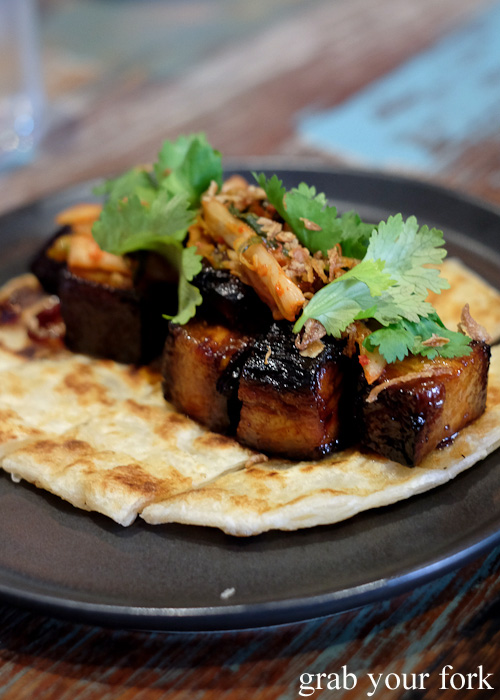 Roti paratha with chilli caramel pork belly and kimchi at Yang and Co Castlecrag