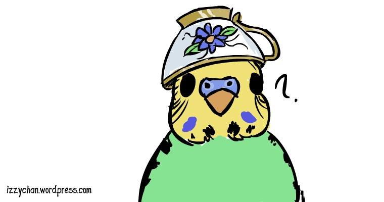 parakeet bird with teacup hat