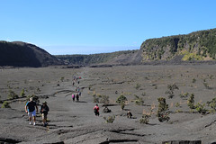 Hikers cross Kilauea Iki.