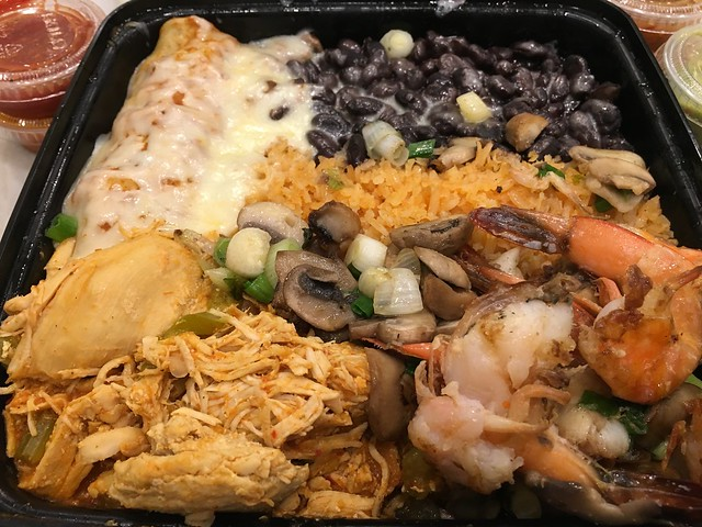 Spicy chicken, garlic prawns & carne asada enchilada - Pancho Villa