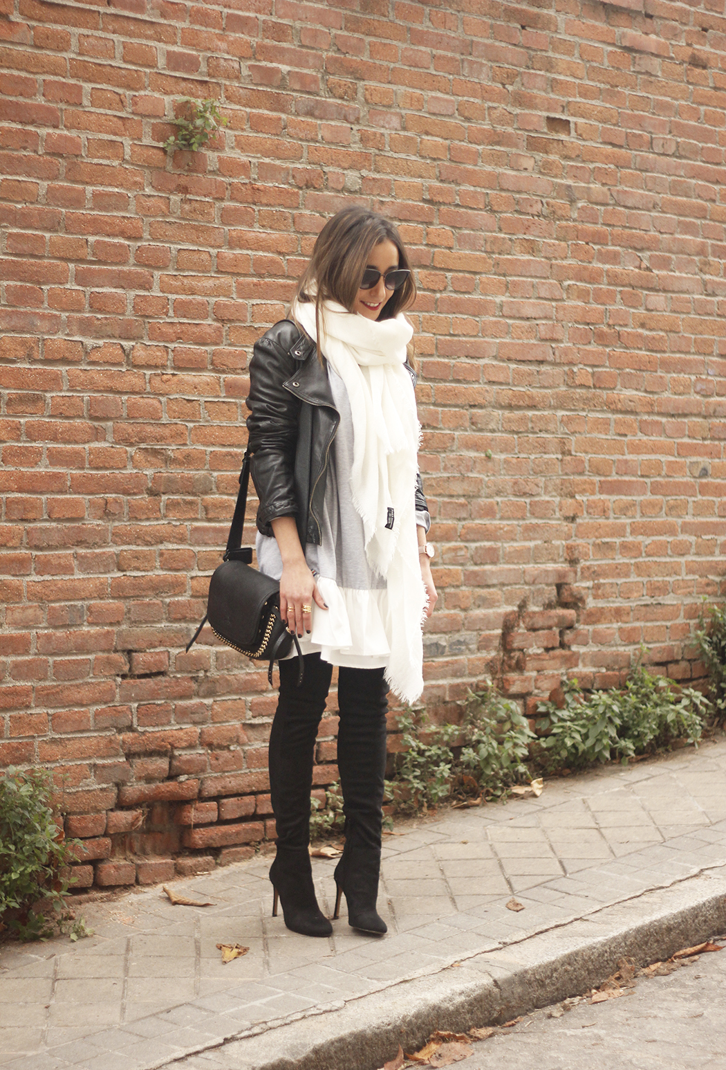 Leather Jacket gray dress over the knee boots style outfit fashion coach bag white scarf15