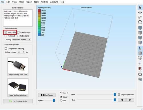 Simplify3D - Show Build Plate