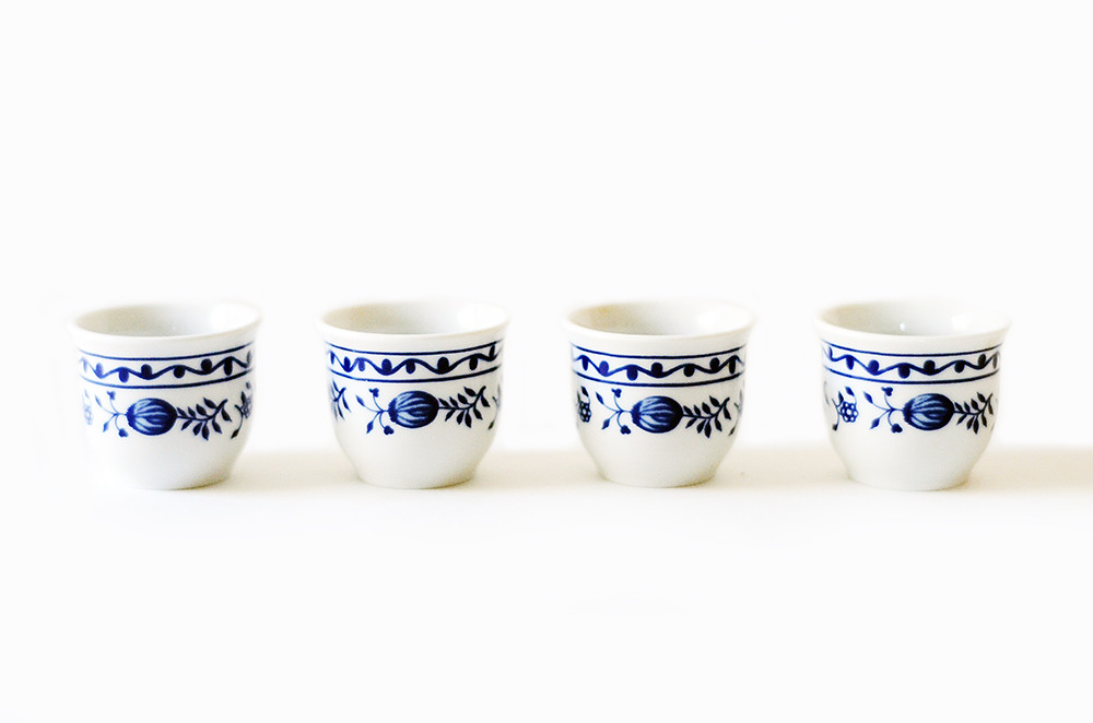 Four Vintage Blue and White Shot Glasses