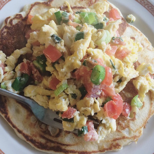 Egg Scramble with Pancake #food #brunch #pancakes #scrambledeggs #notdonewithpancakesyet