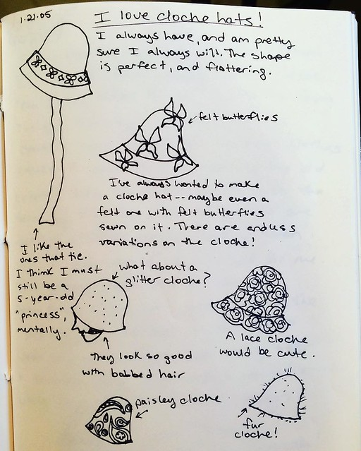 My ode to cloche hats, circa 2005. I still haven't made any cloche hats! Fleece and faux fur beanies, yes.