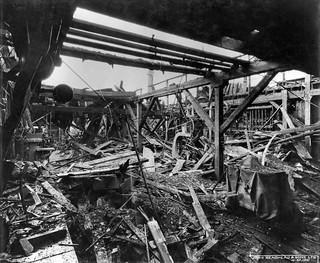Bomb damage at Readhead's shipyard, South Shields, 1941