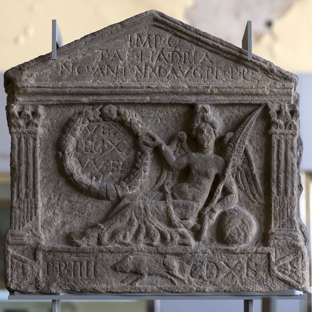 Roman legionary distance slab with reclining Victory, from Old Kilpatrick