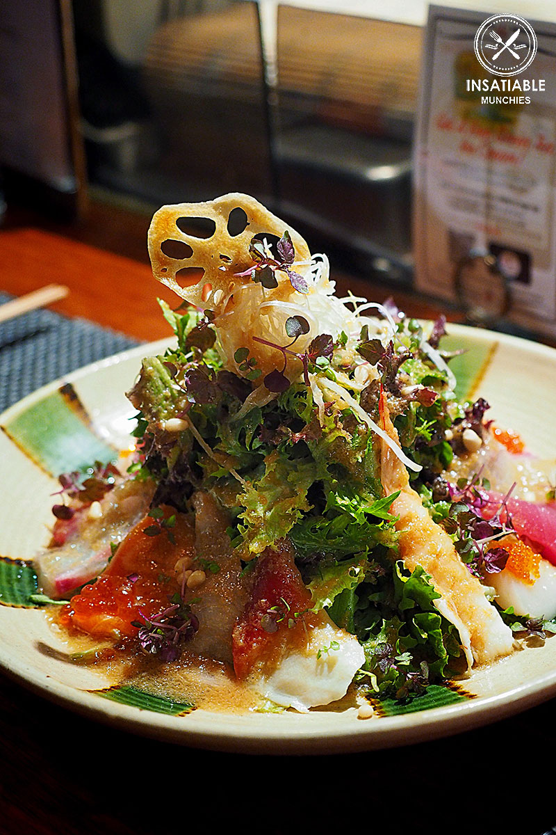 Seafood sashimi and seasonal vegetable salad, $27: Busshari, Potts Point. Sydney Food Blog Review