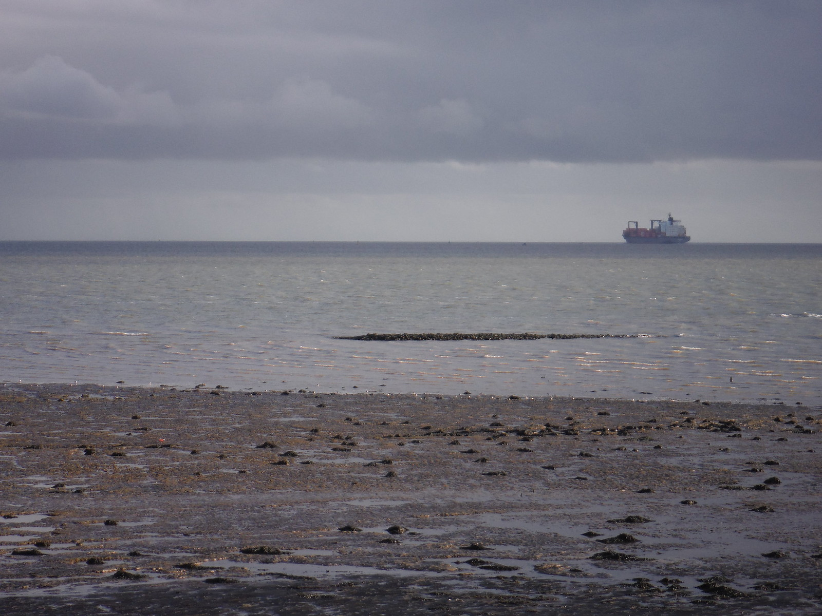 Ship in Thames Estuary, from Canvey Point SWC Walk 258 Benfleet Circular (via Canvey Island)