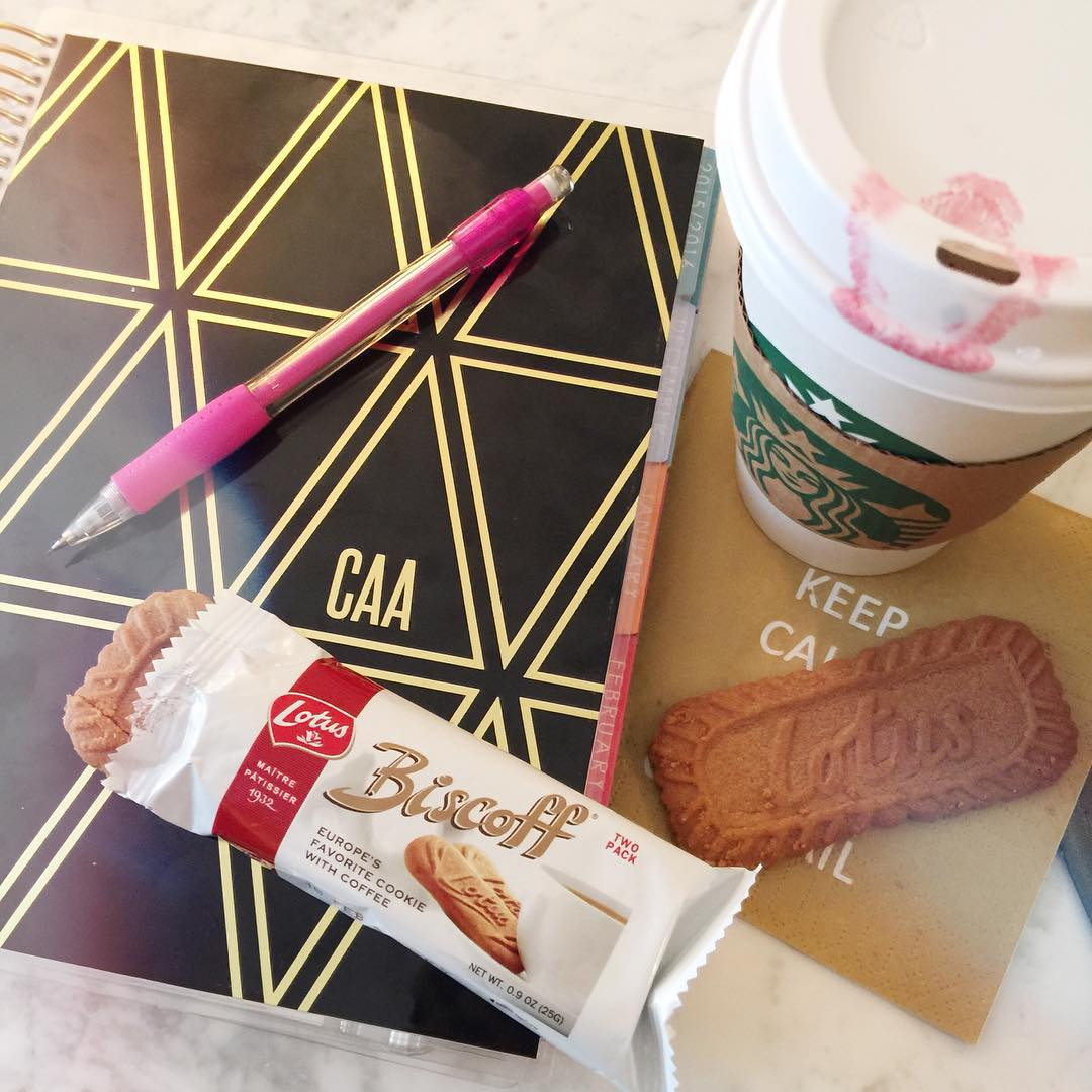 What's a great start to a January morning? A piping hot coffee, planning out your day in a fun planner and delicious biscoff cookies! A little break like this is just what I need to start my morning right. #MyBiscoffBreak @Influenster @biscoffcookies @bis