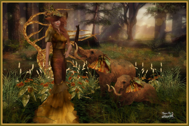 Fantasies Of Tandy ~ Tandy Leather & Fur Gown, Hat and Elephant Scene