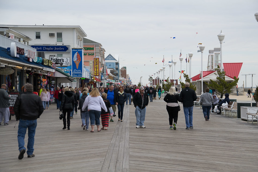 Ocean City Boardwalk Crowds in the Spring (April)
