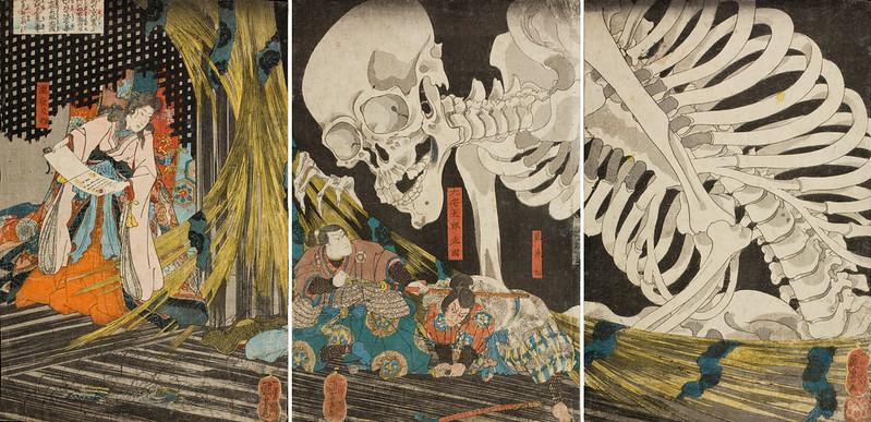 Utagawa Kuniyoshi - In the Ruined Palace at Sōma, Masakado's Daughter Takiyasha Uses Sorcery to Gather Allies 1844