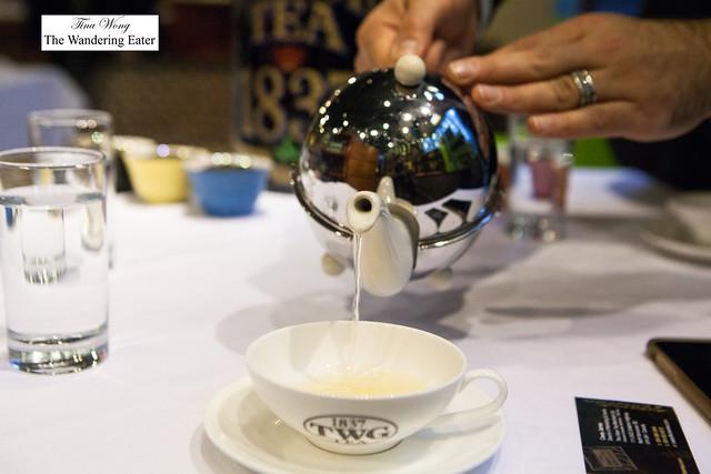Pouring the White Night Jasmine tea