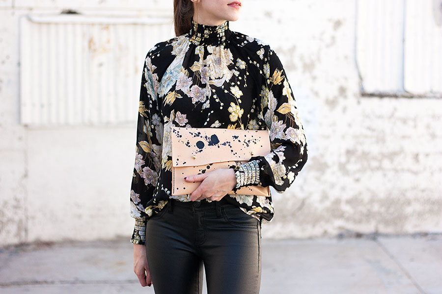 H&M Floral Blouse, Specklec Clutch