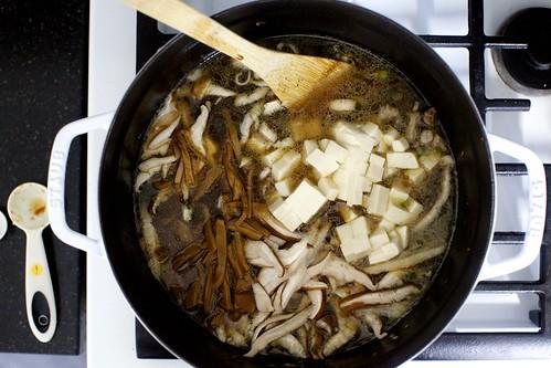tofu, mushrooms, optional bamboo shoots