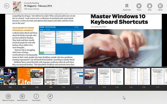 Nook App on Windows 10 Tablet showing article view