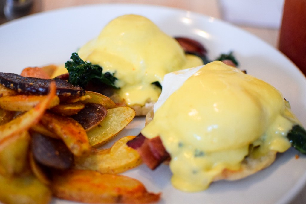 Manoli's on 9th slc Brunch :: eggs Benedict, breakfast sandwich, coffee, Bloody Mary