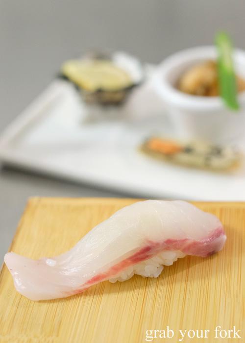 Bass grouper sushi at Sashimi Shinsengumi, Crows Nest