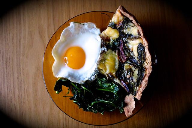 rustic baby kale, Grubbeen Irish cheese, Italian prosciutto tart