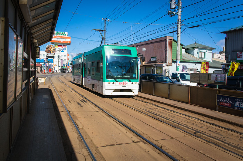 a tram car running in hakodate