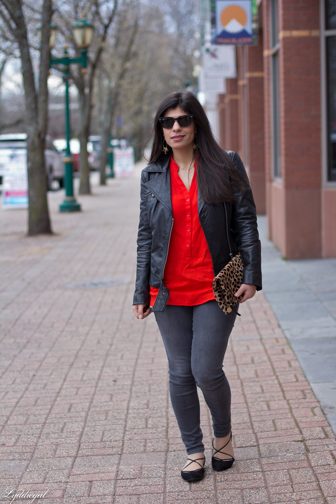 grey jeans, red blouse, black leather jacket, leopard clutch.jpg