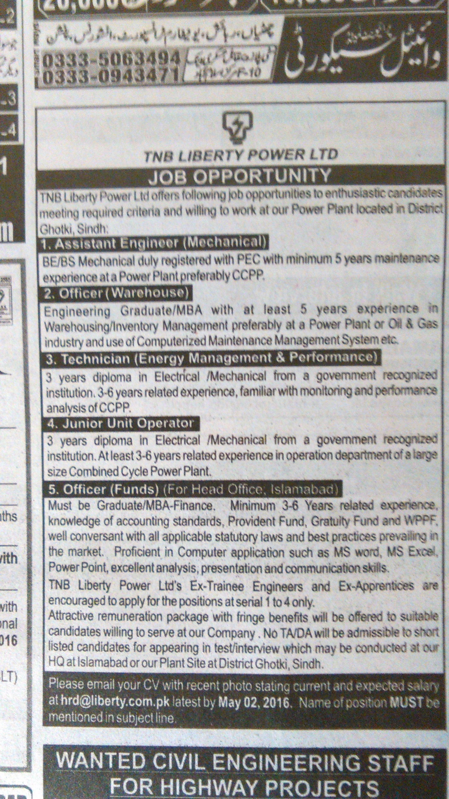 The Liberty Power Limited Jobs 2016