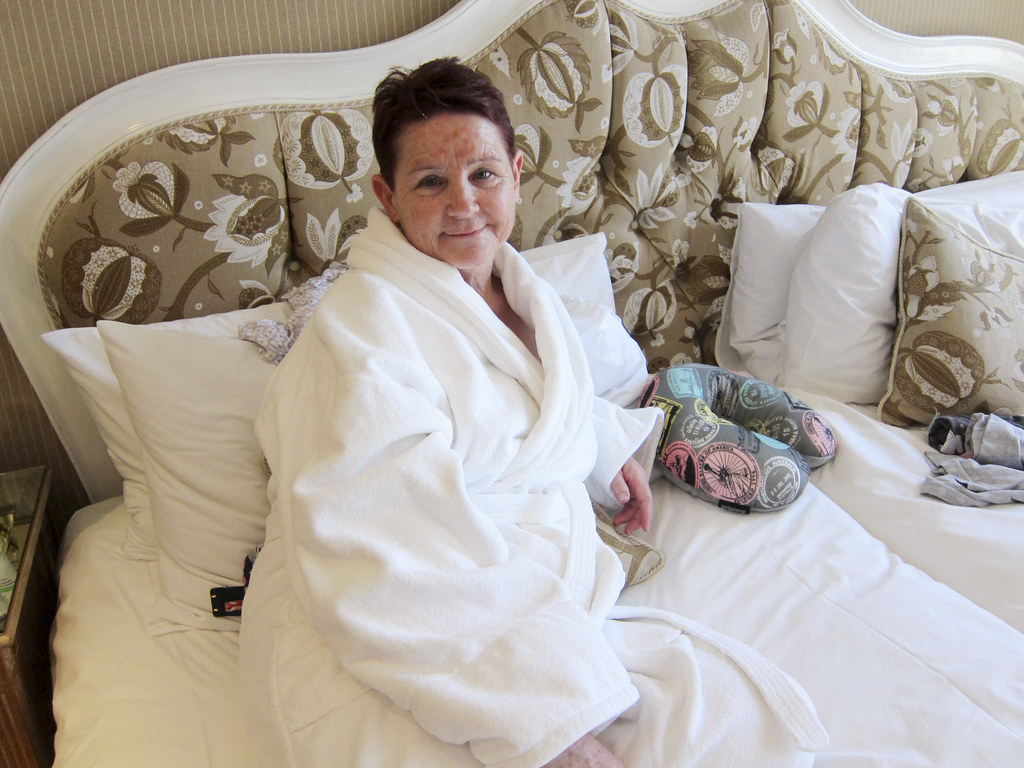 Mum relaxing Old Government House Hotel, Guernse