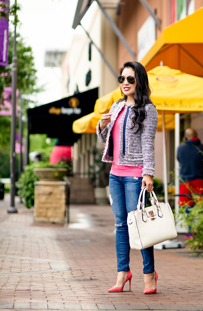 719735d4c cute & little blog | petite fashion | tweed jacket, pink tippi sweater,  distressed