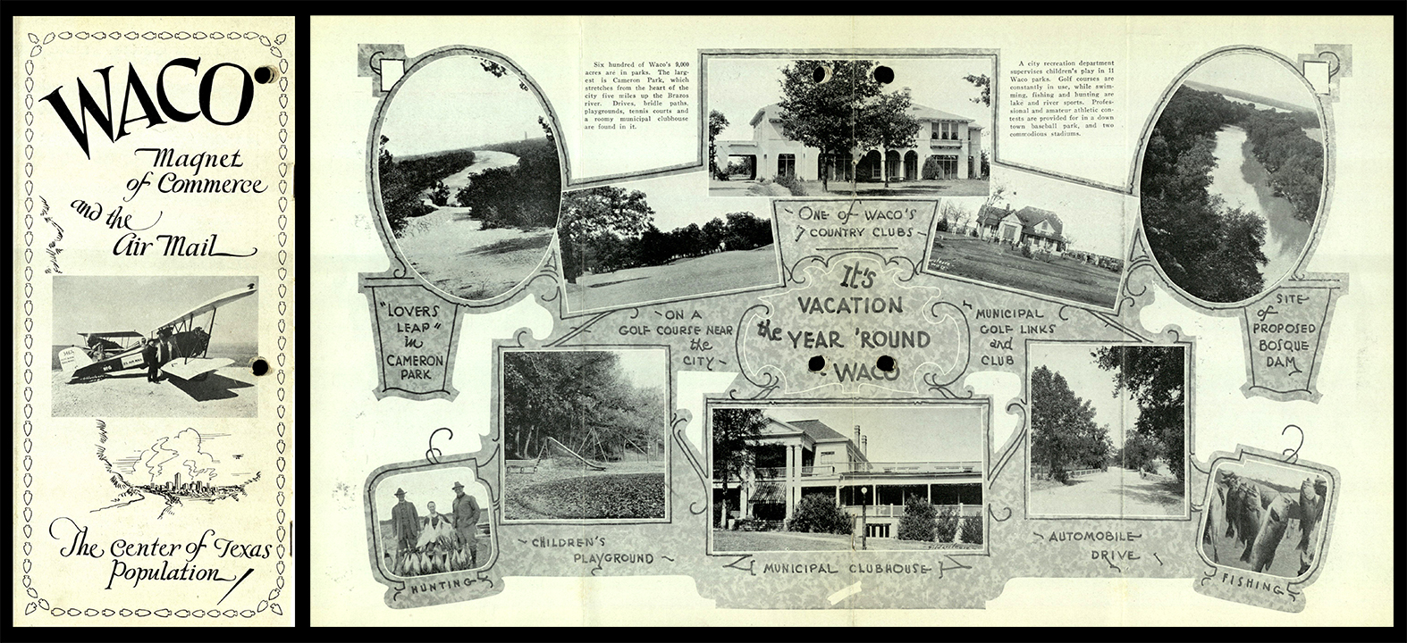 Waco, Magnet of Commerce and the Air Mail: the Center of Texas Population. circa 1929.
