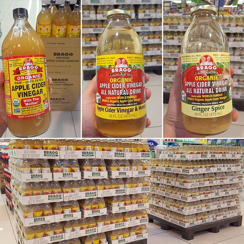 Bragg raw unfiltered unpasteurized organic apple cider vinegar 32 oz / 946 ml & apple cider vinegar all natural drink with honey and ginger spice 16 oz / 473 ml at Gaisano Mall Davao Supermarket