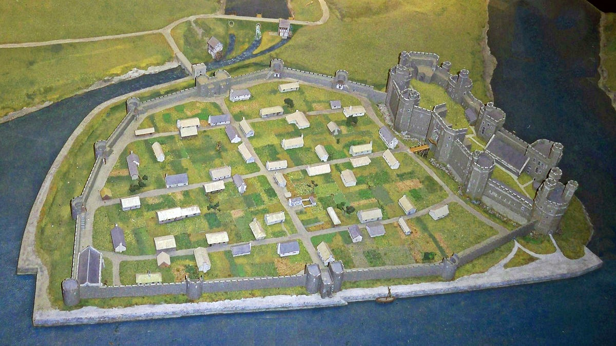 Reconstruction of Caernarfon Castle and town walls at the end of the 13th century. Credit Hchc2009