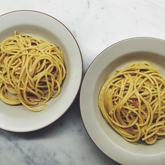 Contemplating eating carbonara for the entirety of this f@$&ing cold weekend. I might have a bourbon or two in between. 🍝