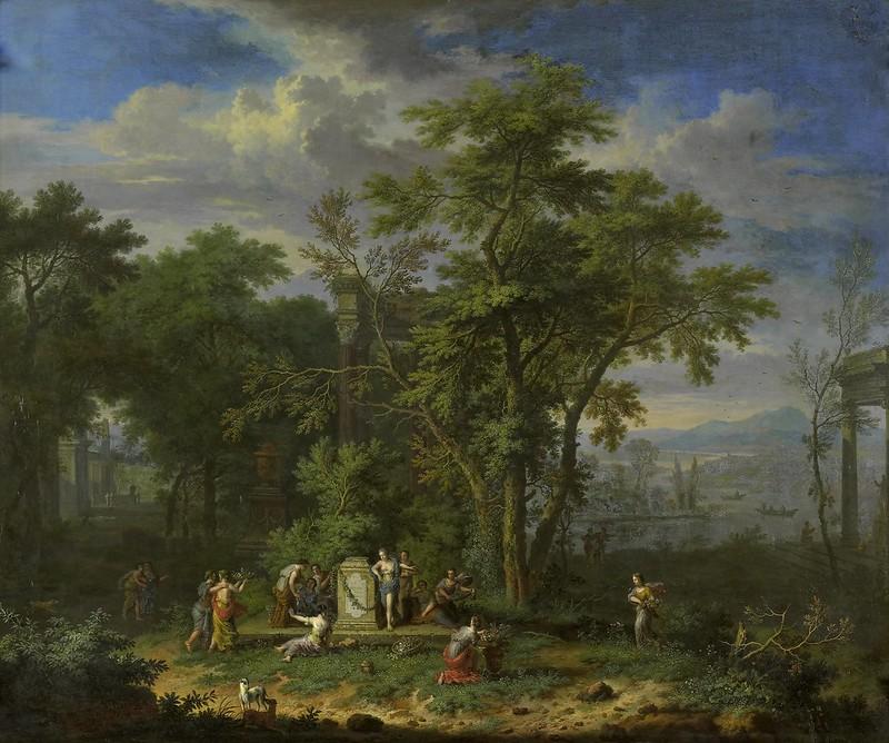 Jan van Huijsum - Arcadisch landschap met een offerfeest (c.1700-1749)
