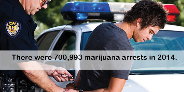 There were 700,993 marijuana arrests in 2014. thumbnail